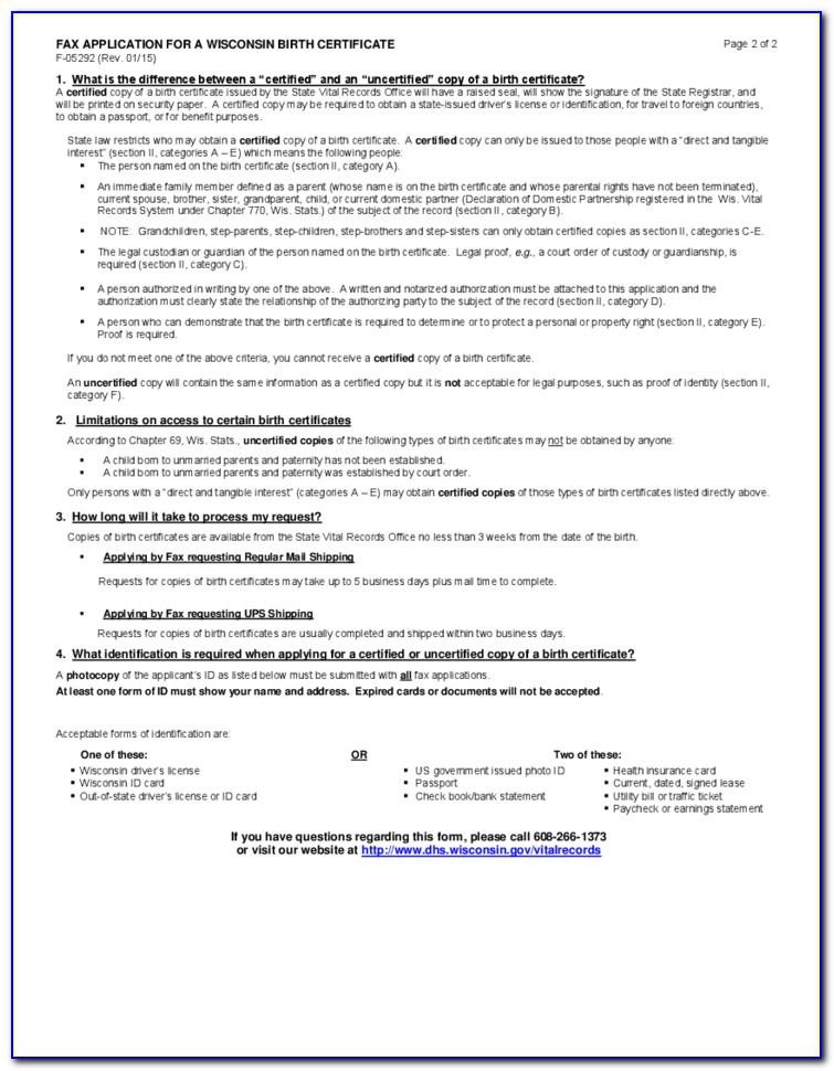 Wisconsin Birth Certificate Form