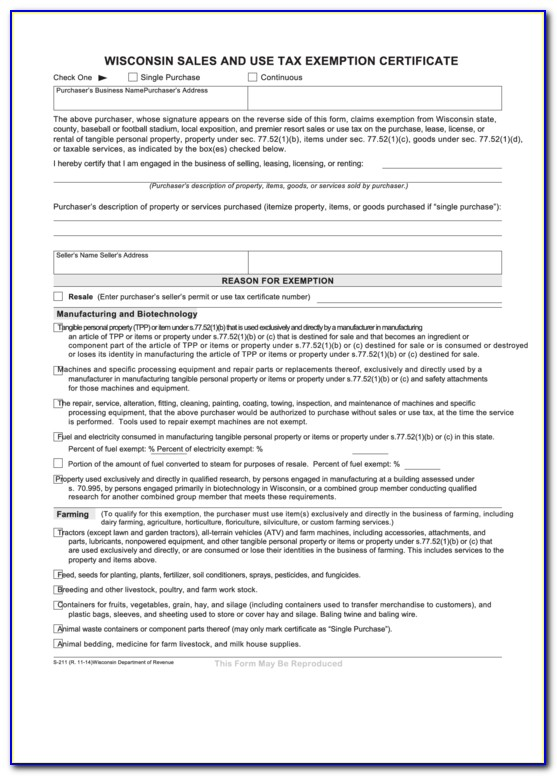 Wisconsin Sales And Use Tax Exemption Certificate 2020