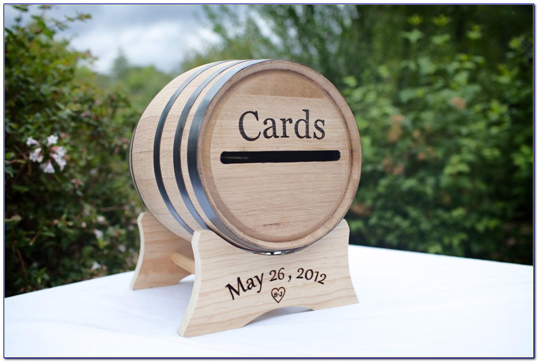 Wood Wine Barrel Wedding Gift Cards Holder