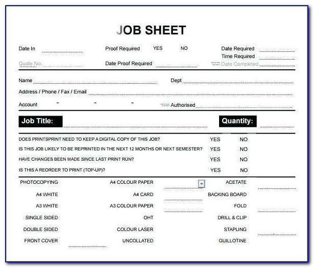 Workshop Job Card Template Free Download