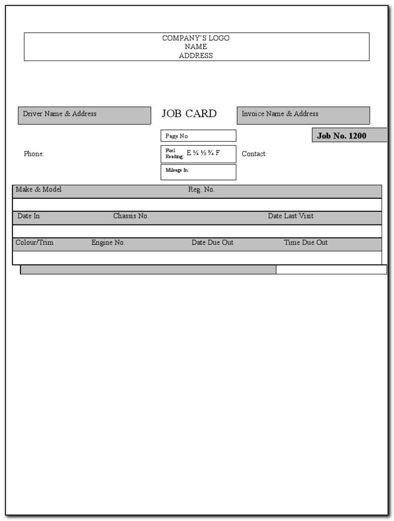 Workshop Job Card Template Free