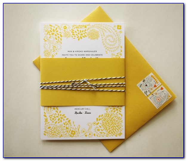 Yellow And Silver Wedding Invitation Cards