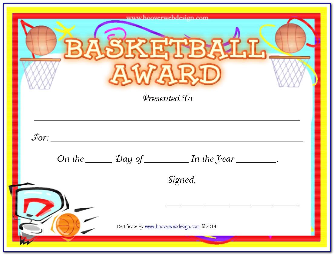 Youth Basketball Award Certificates