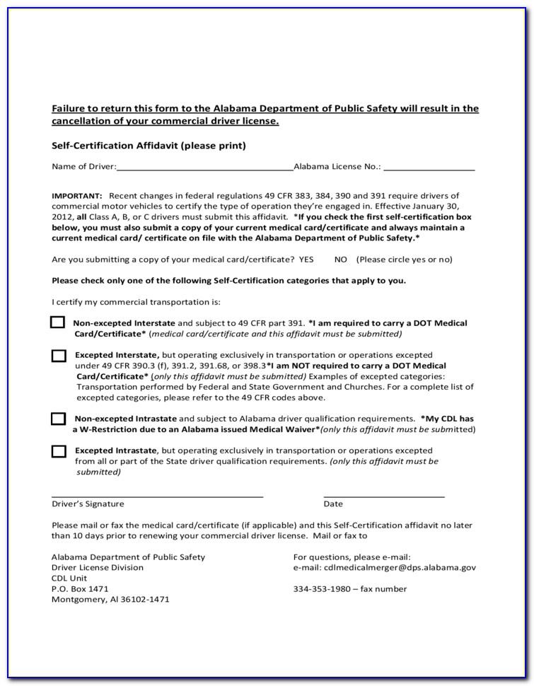 Alabama Cdl Self Certification Affidavit