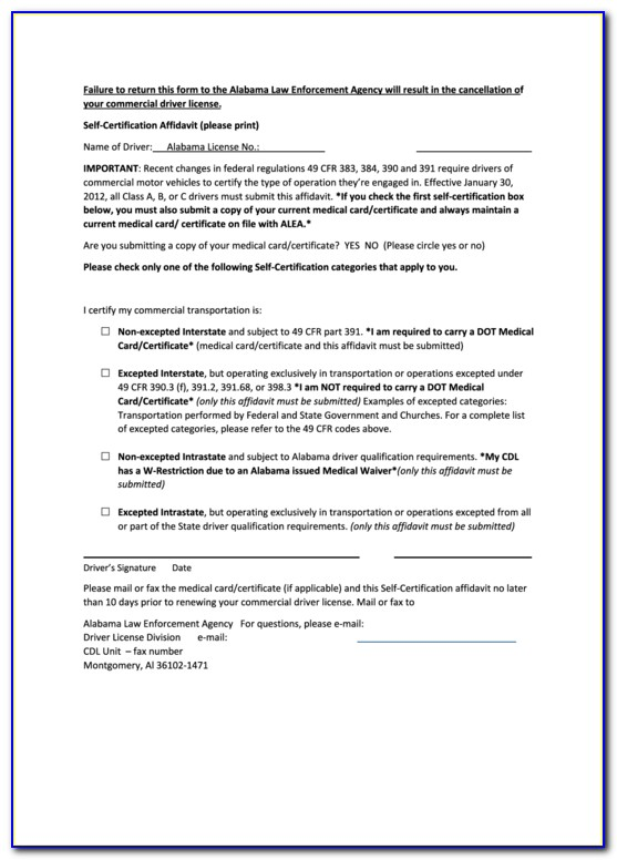 Alabama Department Of Transportation Cdl Self Certification