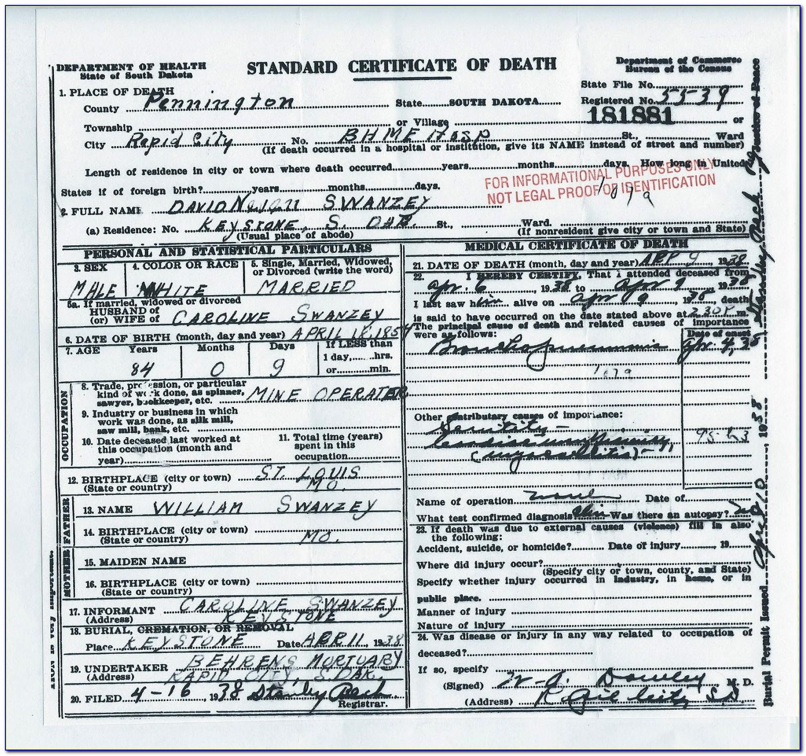 Alameda County Death Certificate Cost