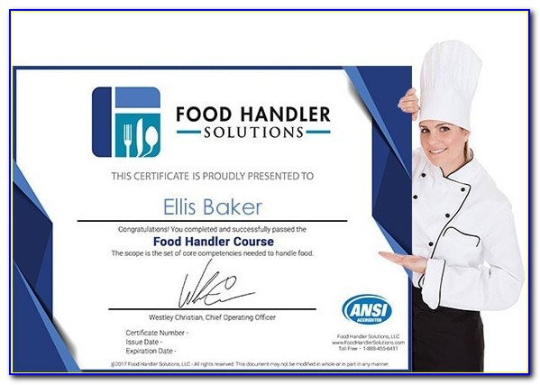 Ansi Accredited Food Handler Certificate
