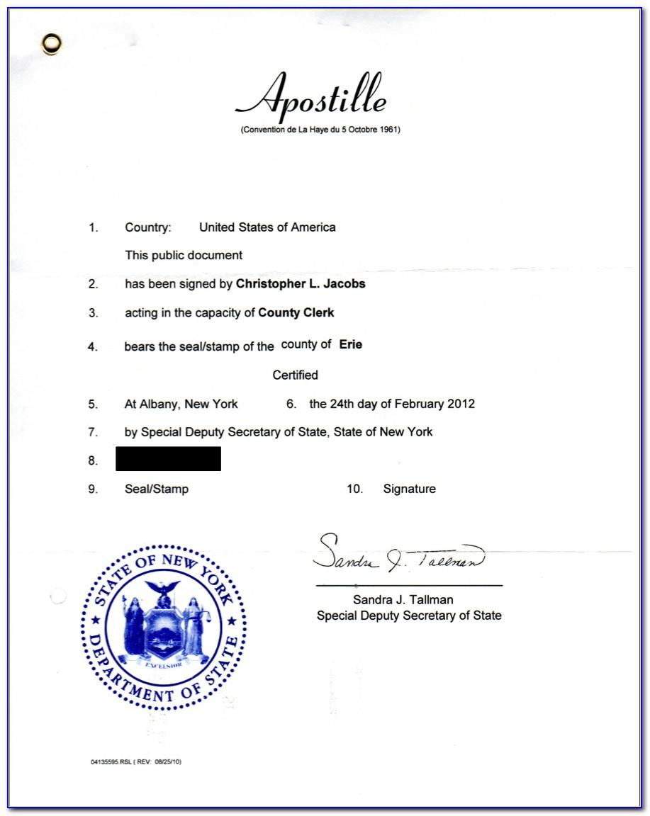 Apostille Birth Certificate New York State