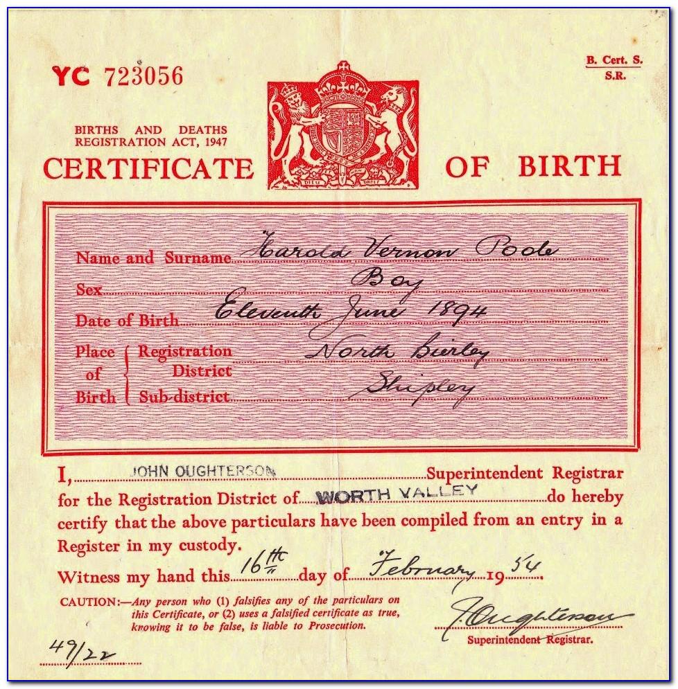 Birth Certificate City Of Bridgeport Ct