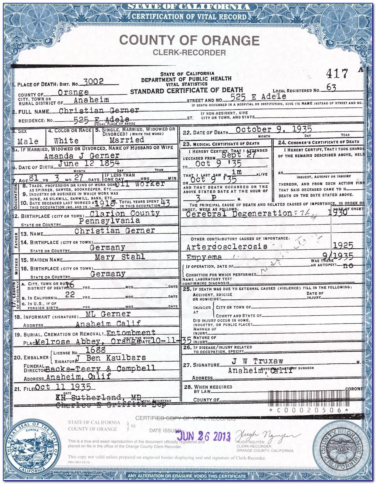 Birth Certificate Copy Modesto Ca