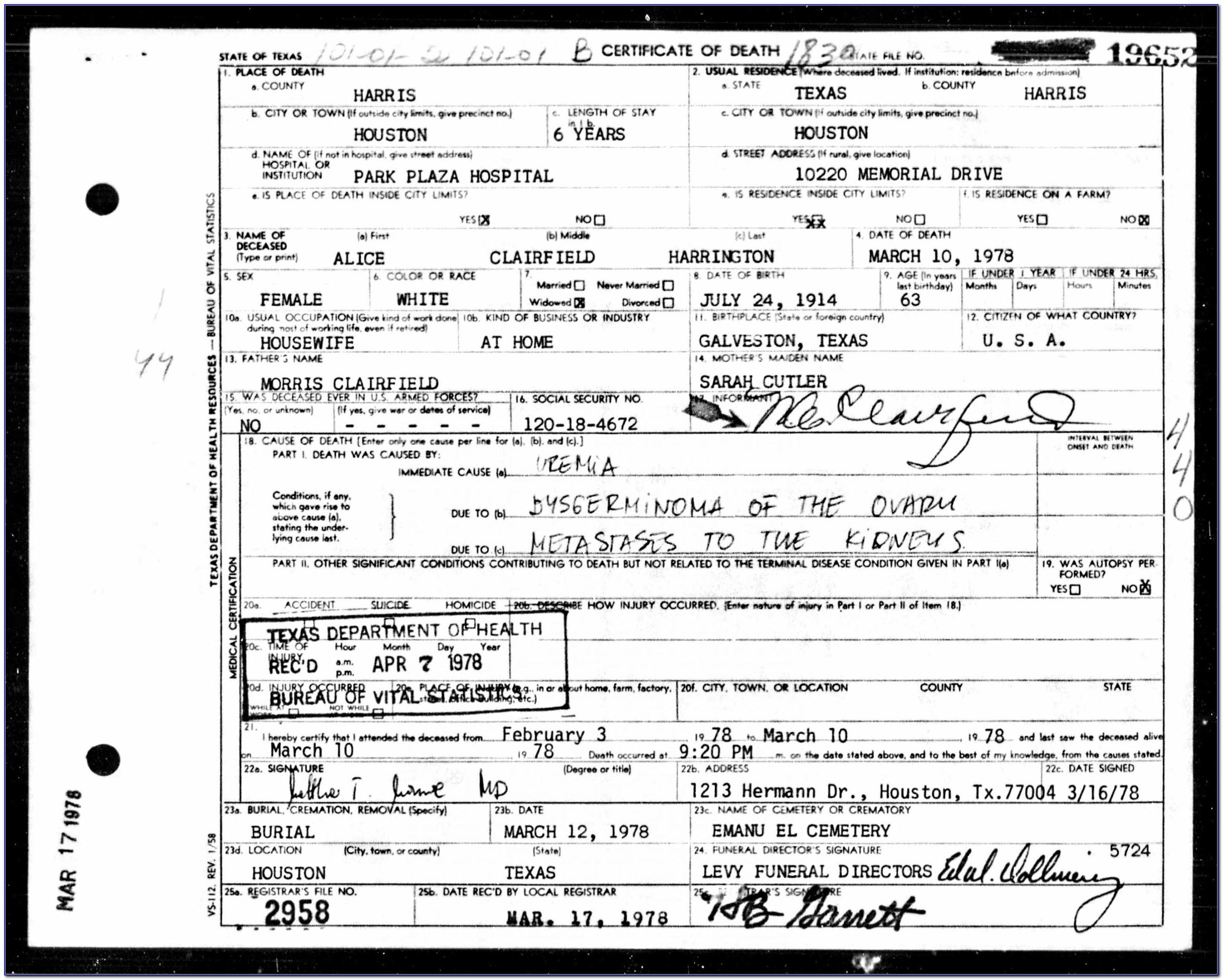 Birth Certificate Galveston County Address