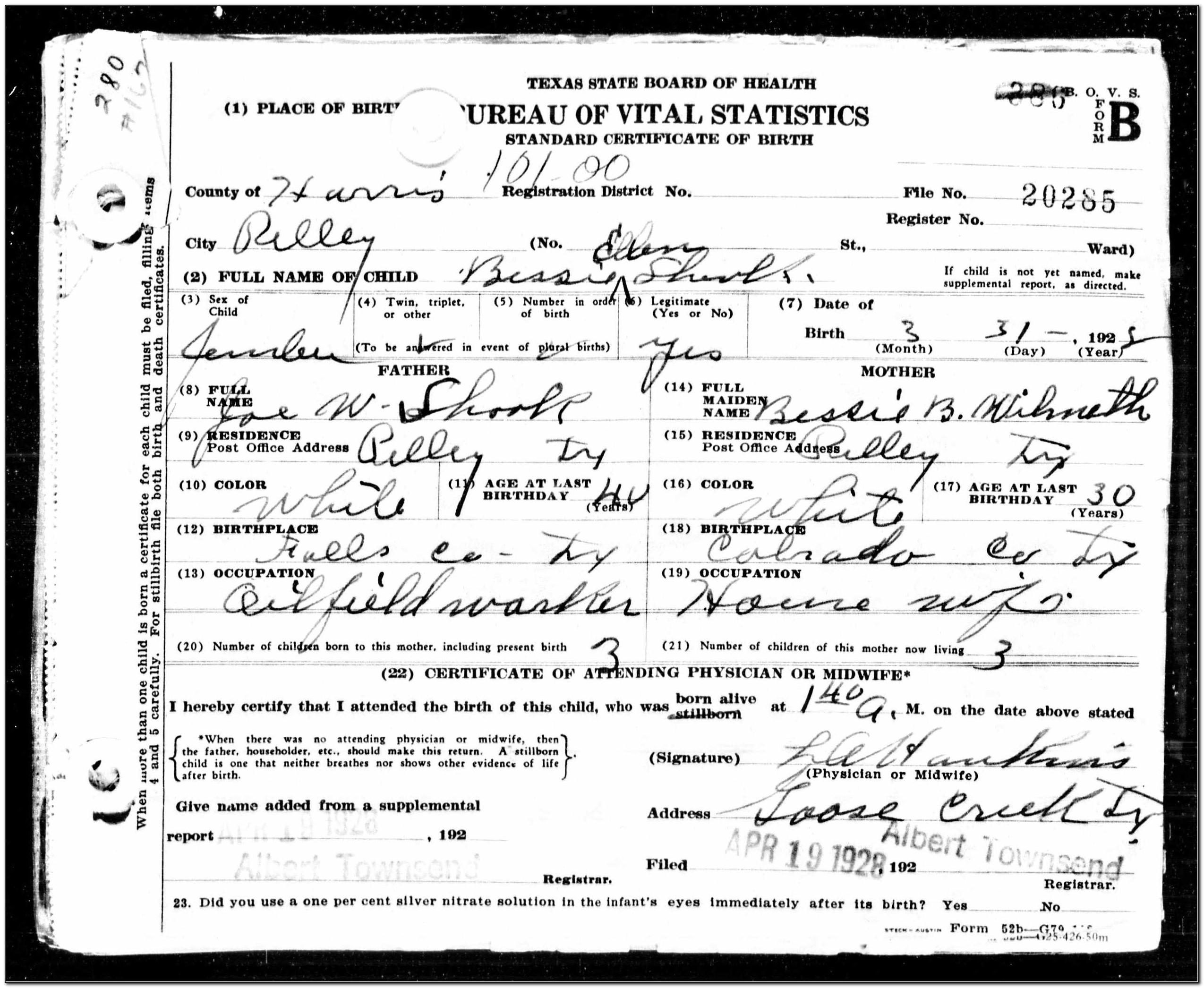 Birth Certificate Office Pasadena Tx