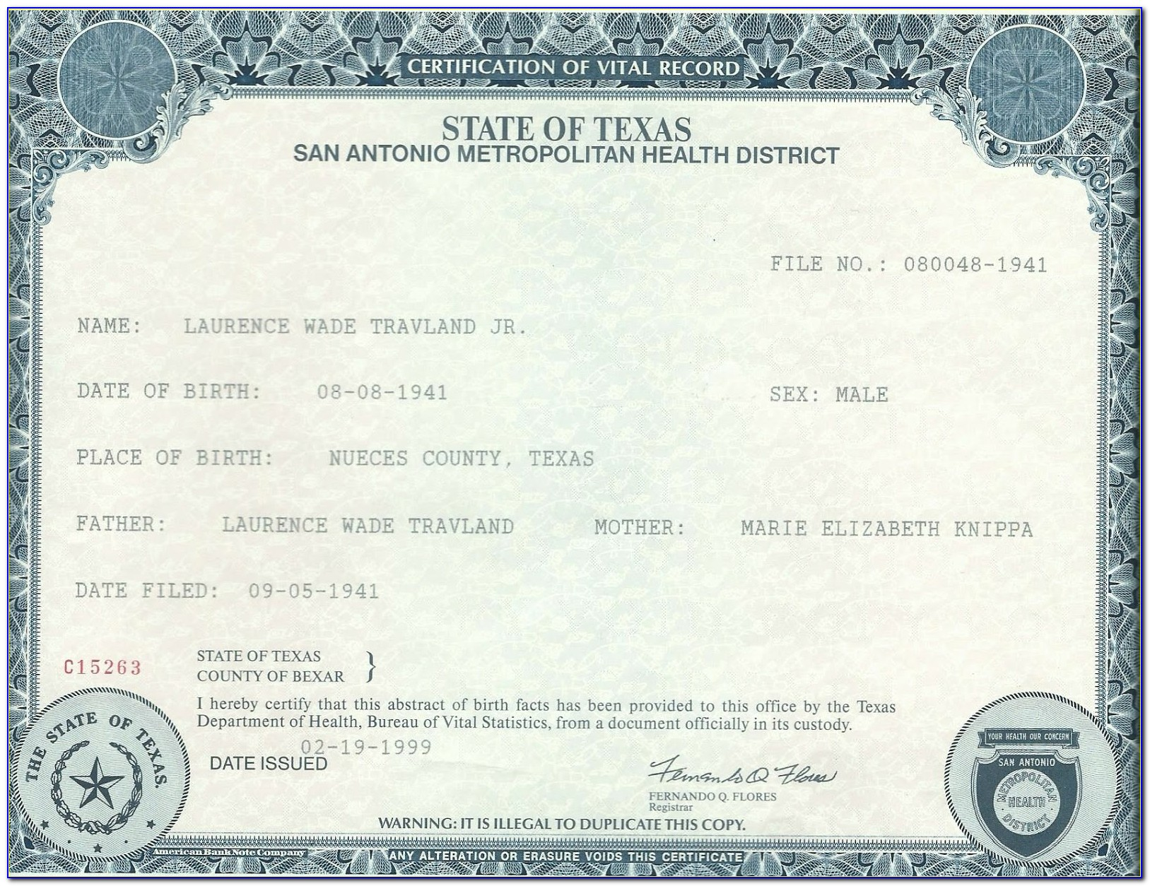 Birth Certificate Place In Pasadena Tx