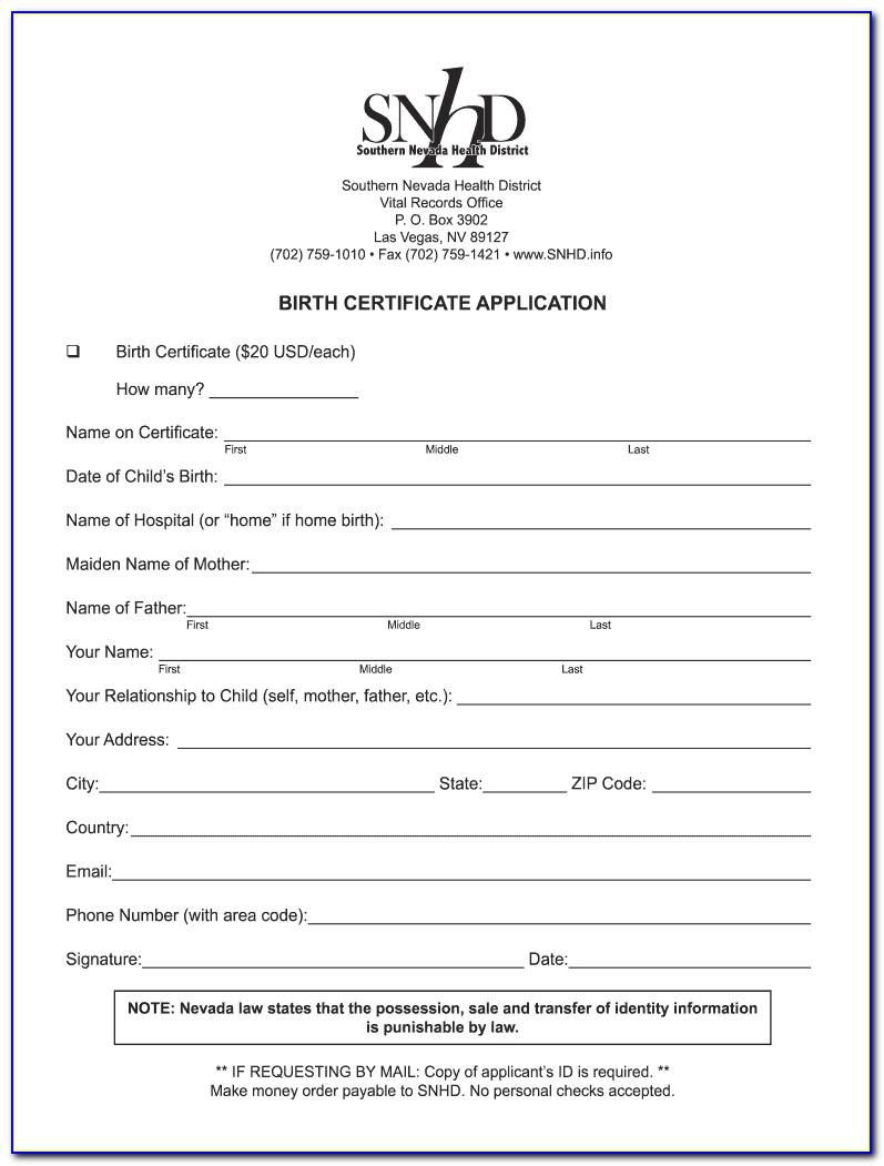 Birth Certificate Reno Nevada