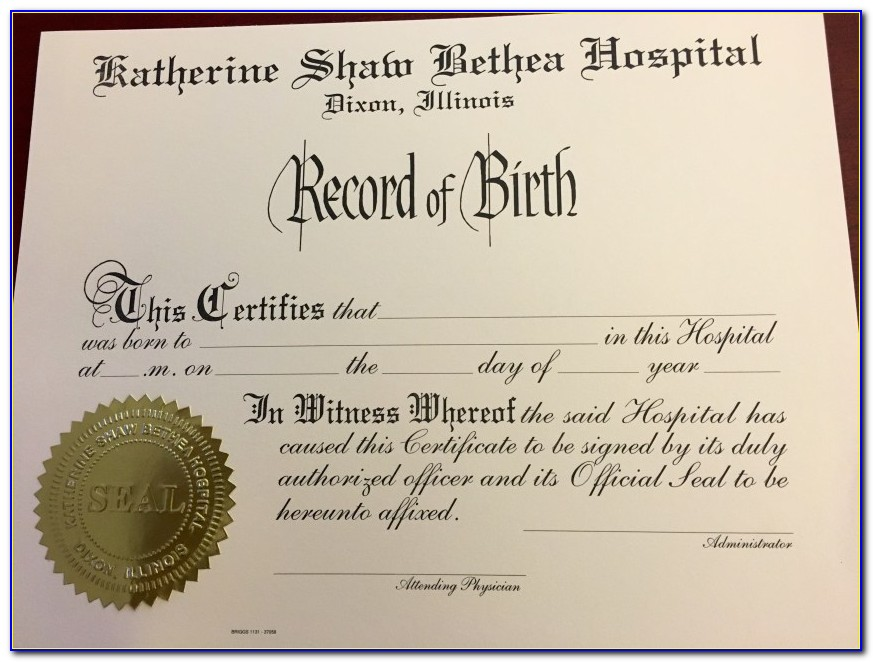 Birth Certificate Rockford Illinois