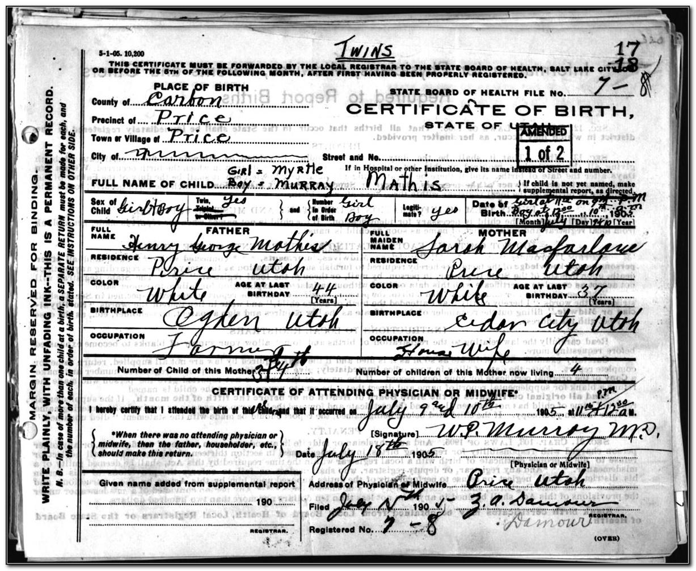 Birth Certificate Utah County