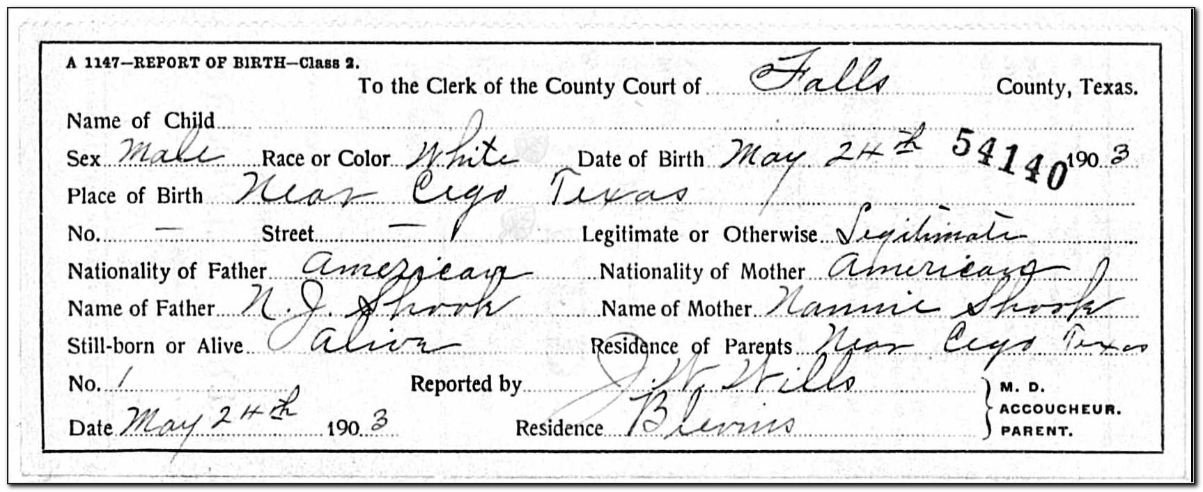 Birth Certificate Waco Texas