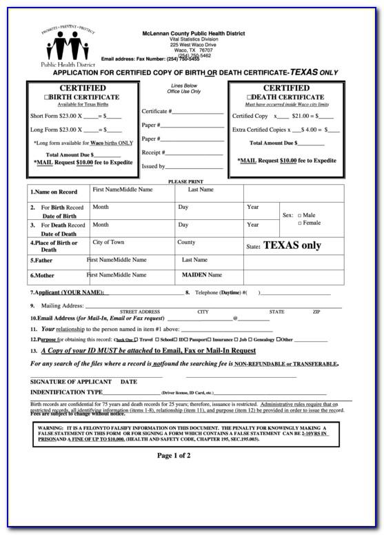 Birth Certificate Waco Tx Hours