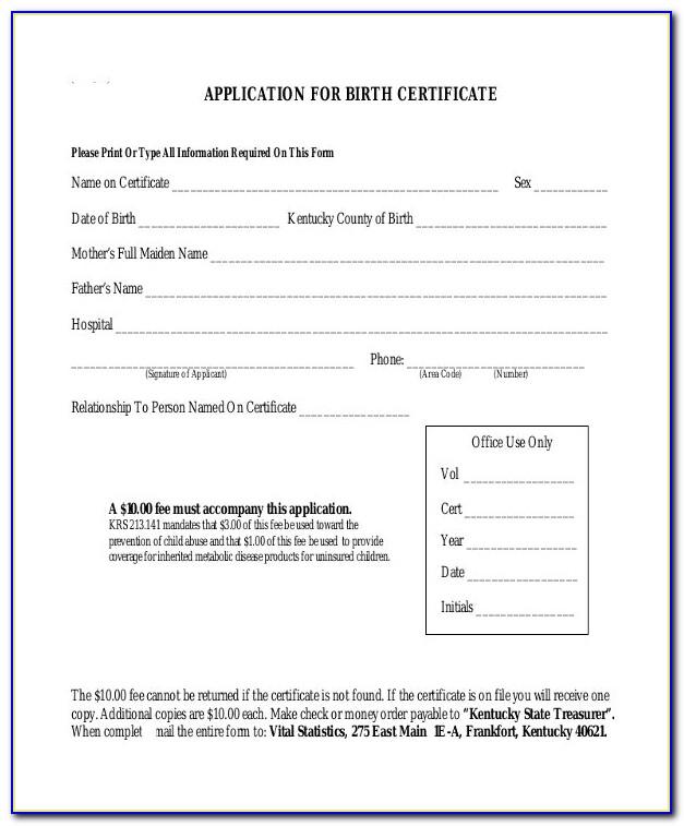 Birth Certificates Kentucky Order Online