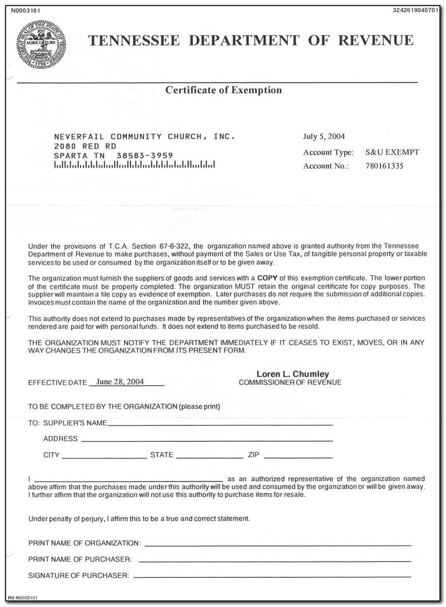Blank Tn Sales Tax Exemption Certificate