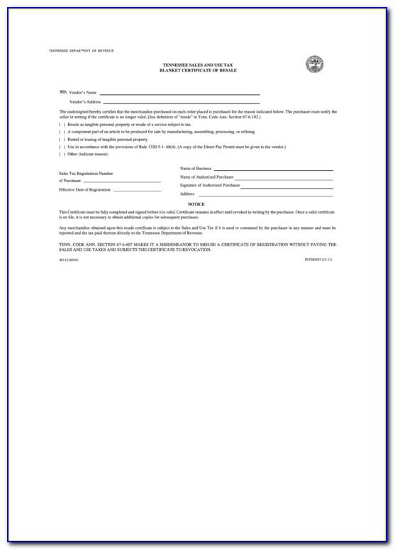 Blanket Certificate Of Resale California
