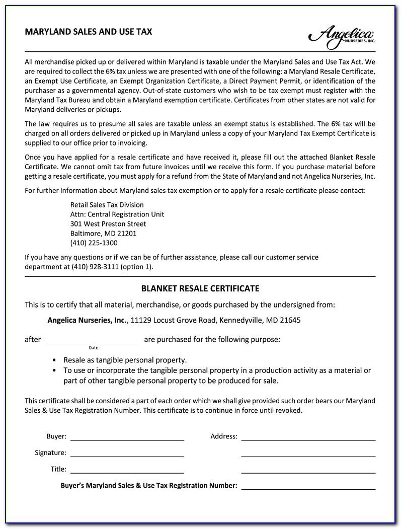 Blanket Resale Certificate Md