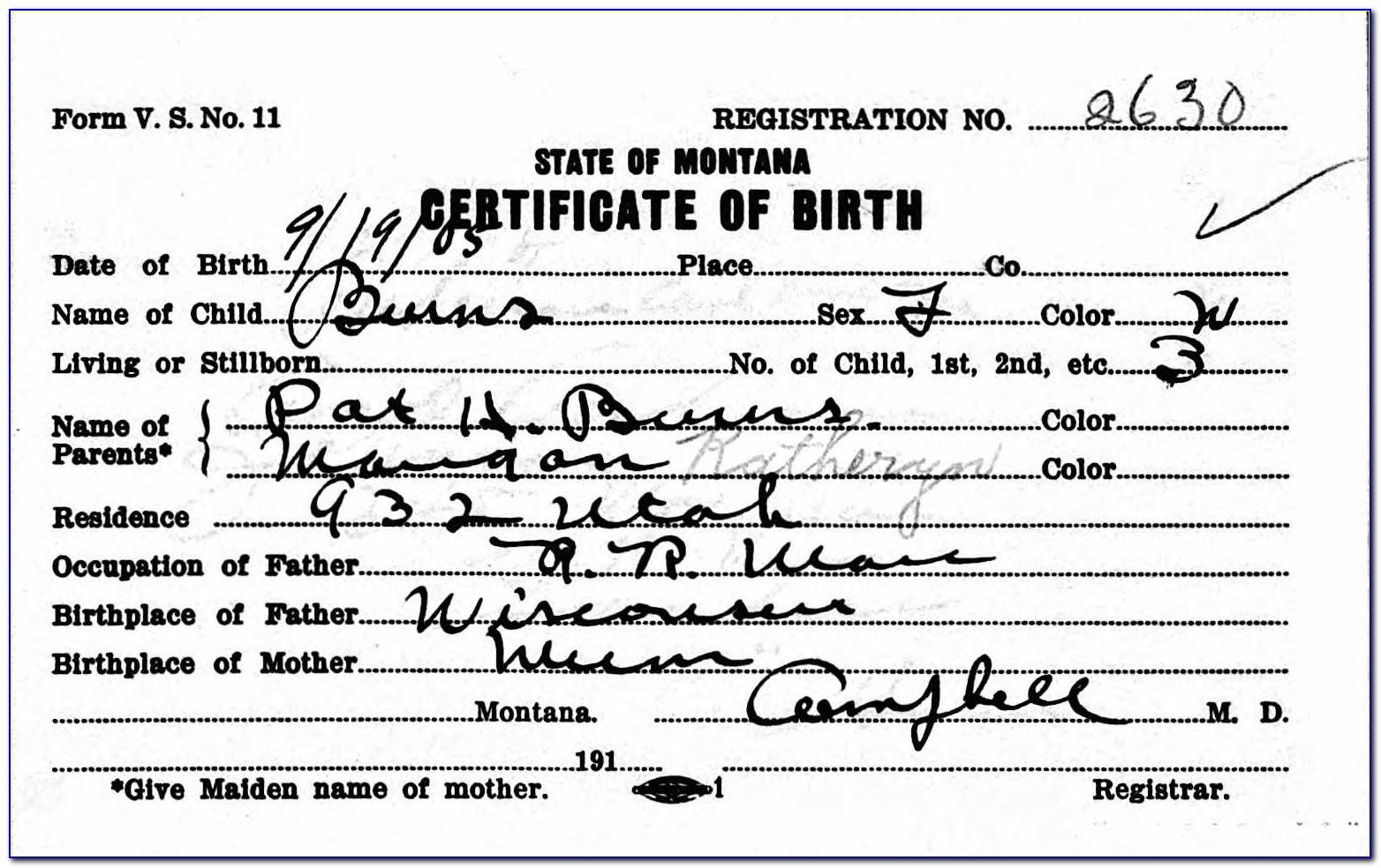 Butte County Birth Certificate