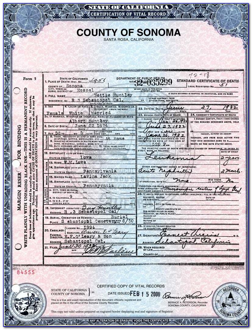 Butte County California Birth Certificate
