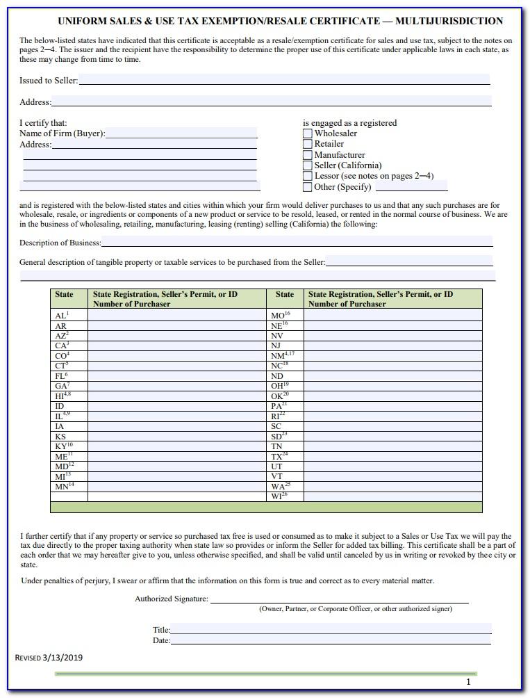 California Multijurisdictional Resale Certificate