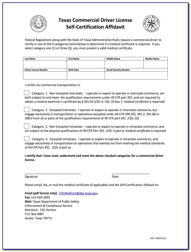 Cdl Self Certification Form Alabama