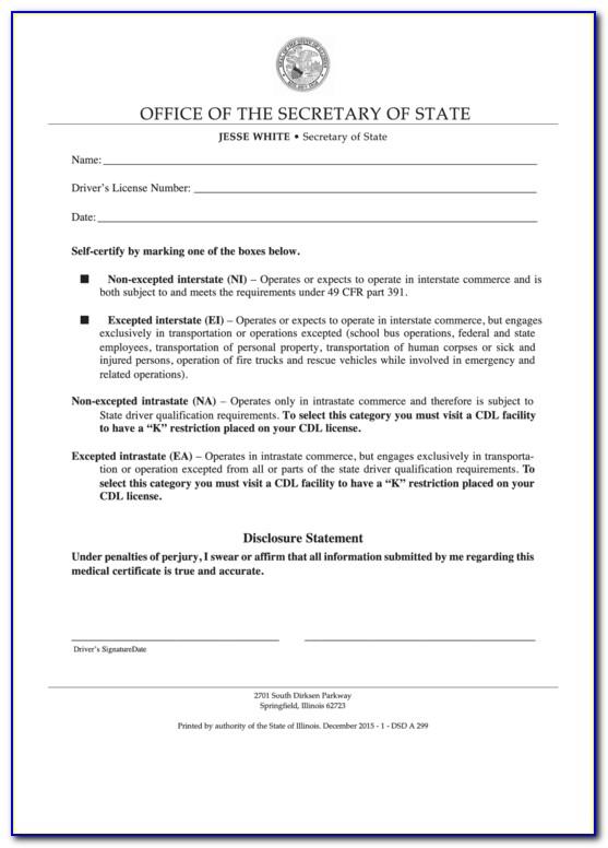 Cdl Self Certification Form Ma