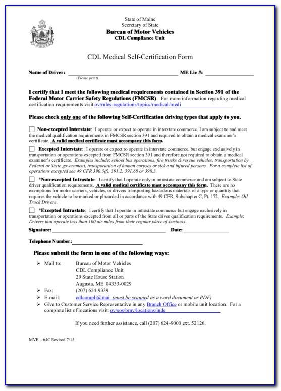 Cdl Self Certification Form Massachusetts