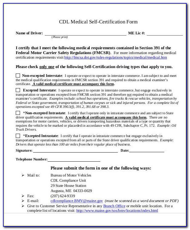 Cdl Self Certification Form Minnesota