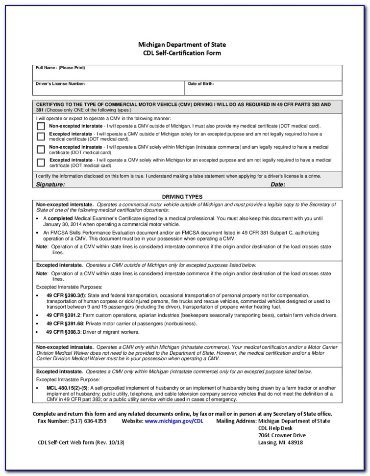 Cdl Self Certification Form Mn