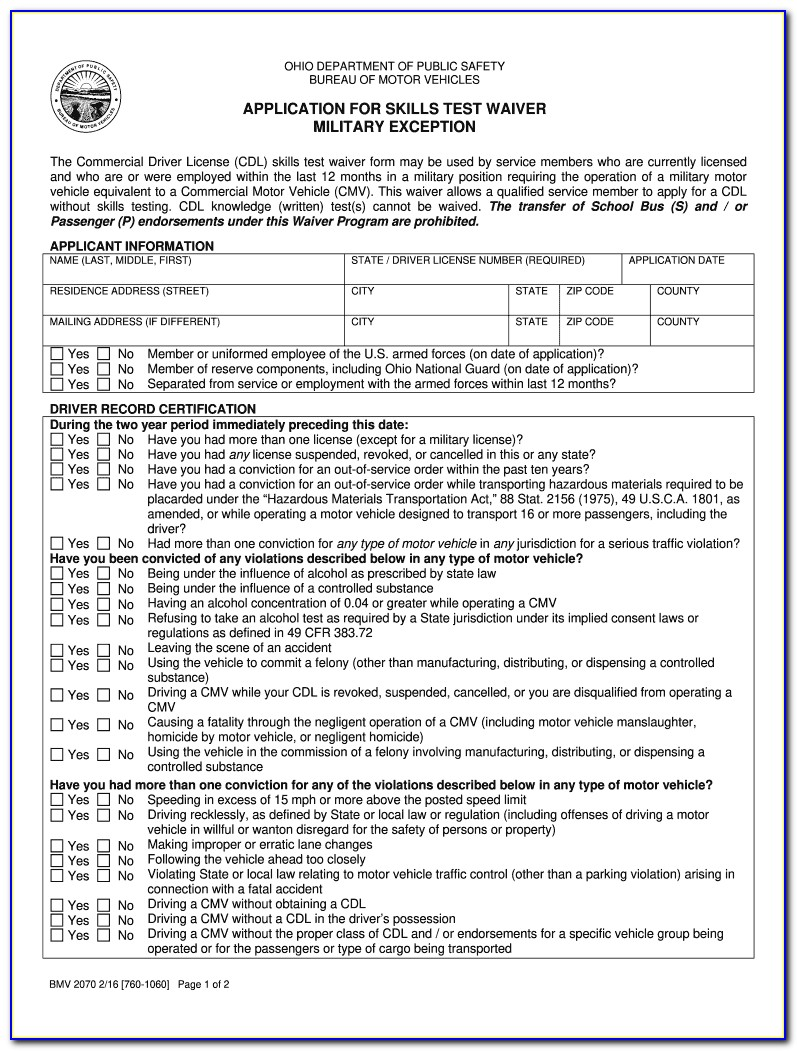 Cdl Self Certification Form Nc