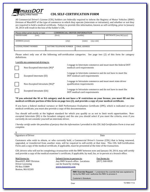 Cdl Self Certification Form New York