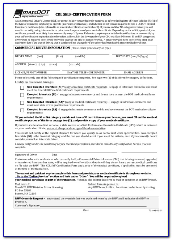 Cdl Self Certification Form Tennessee