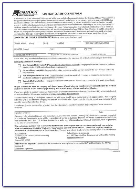 Cdl Self Certification Maine