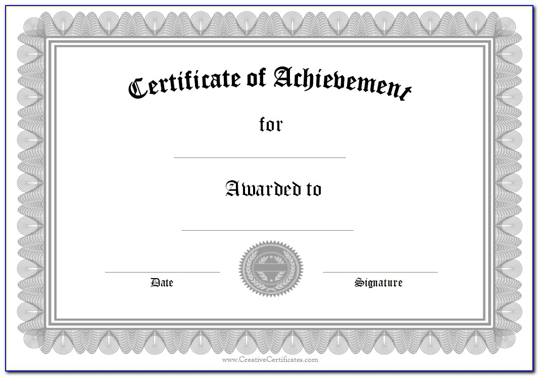 Certificate Of Achievement Template Word 2010