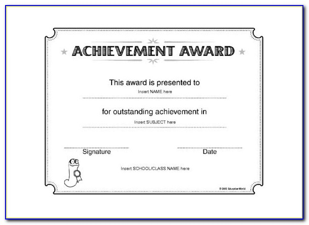 Certificate Of Achievement Template Word Doc
