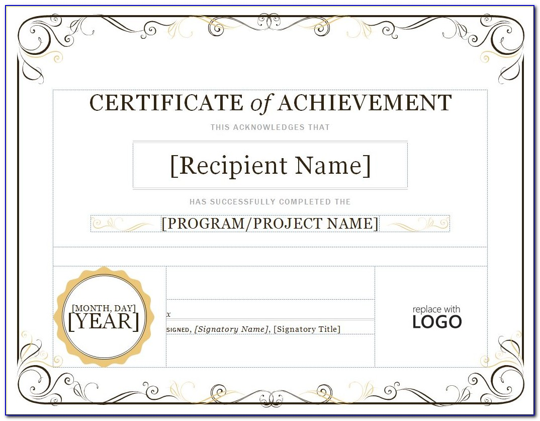 Certificate Of Achievement Template Word Free