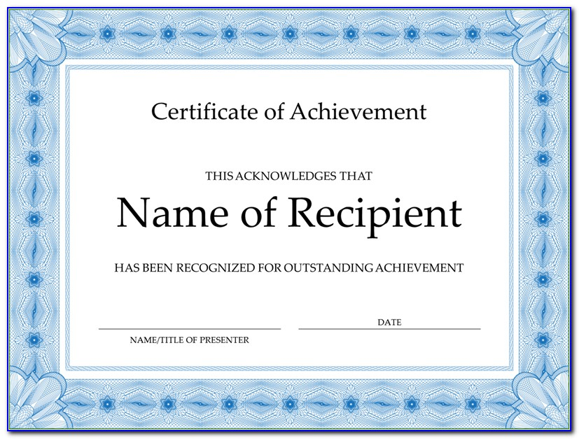 Certificate Of Achievement Word Template Free Download