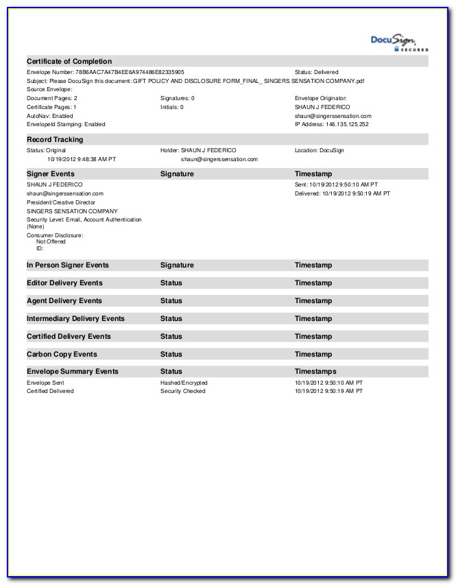 Certificate Of Completion Docusign
