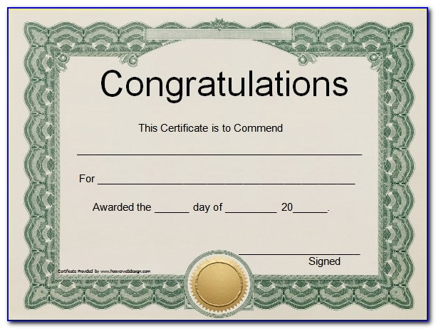 Certificate Of Completion Template Free Download Word
