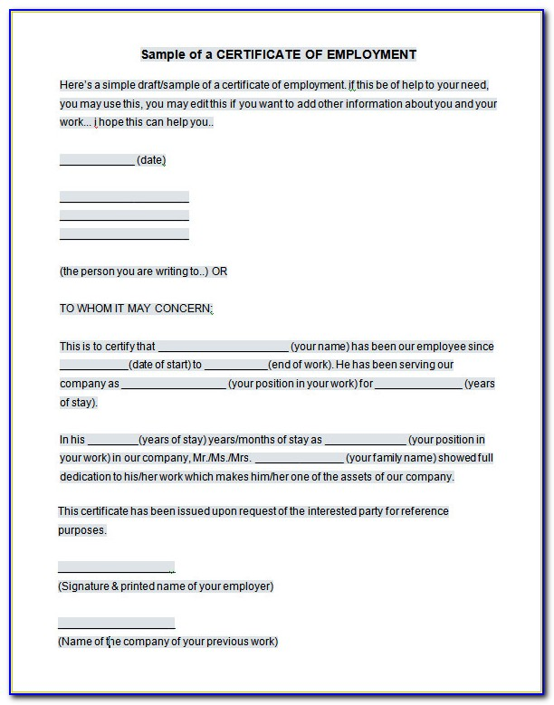 Certificate Of Employment Template Doc