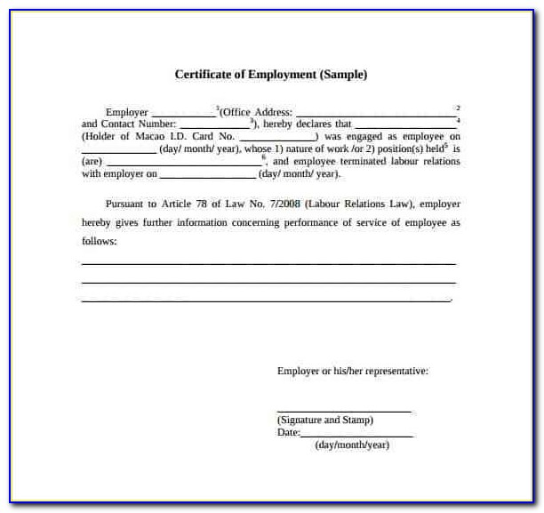 Certificate Of Employment Template Download