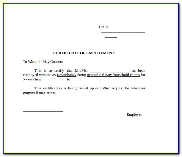 Certificate Of Employment Template Free Download