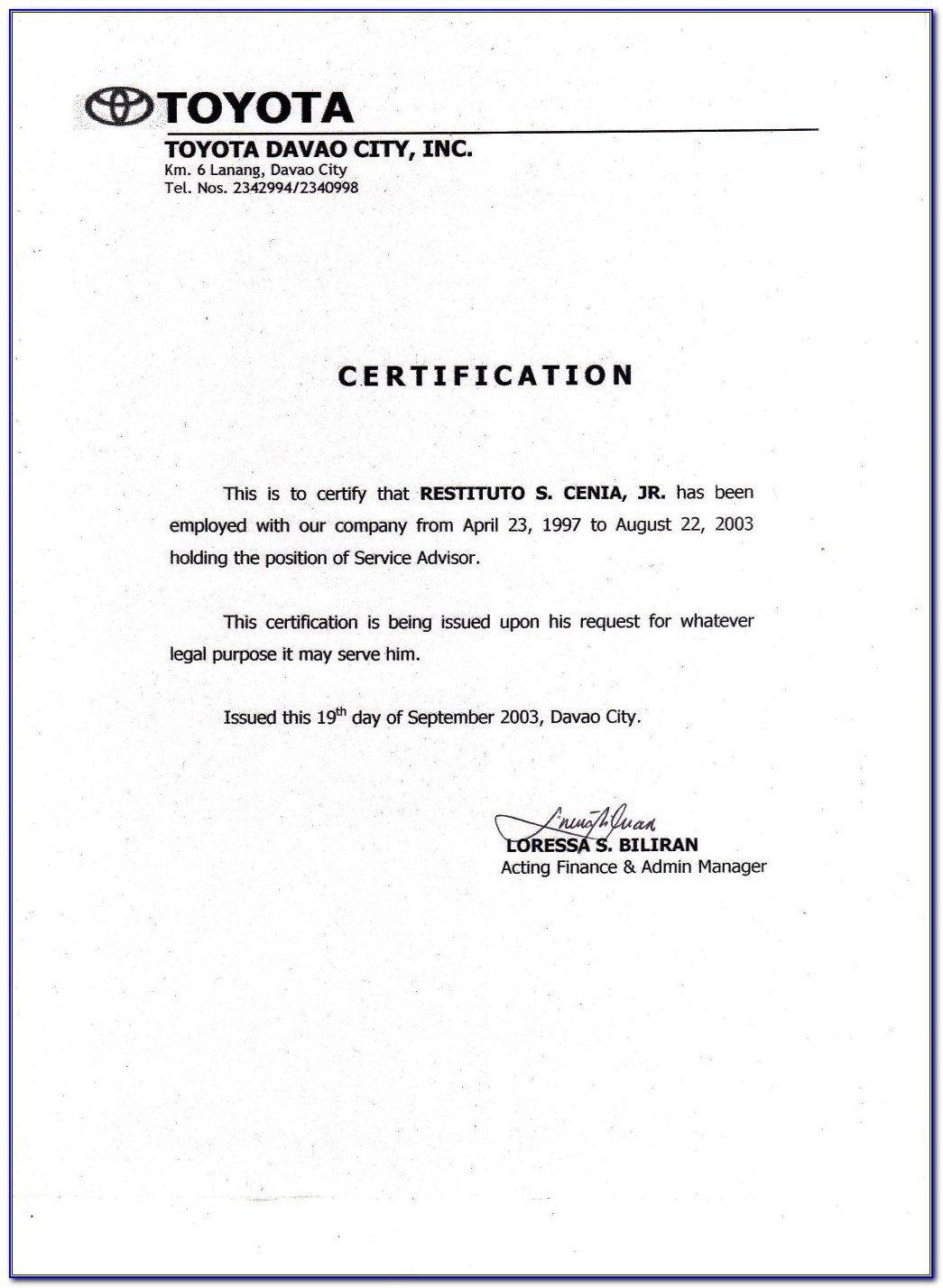 Certificate Of Employment Template Free