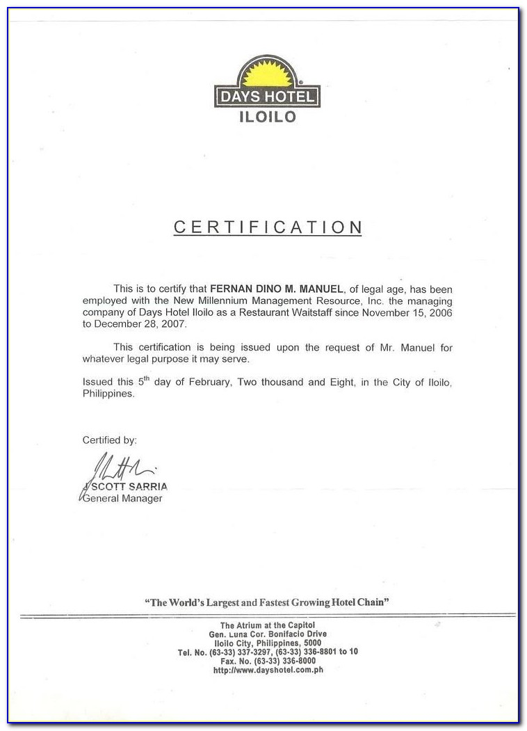 Certificate Of Employment Template Philippines