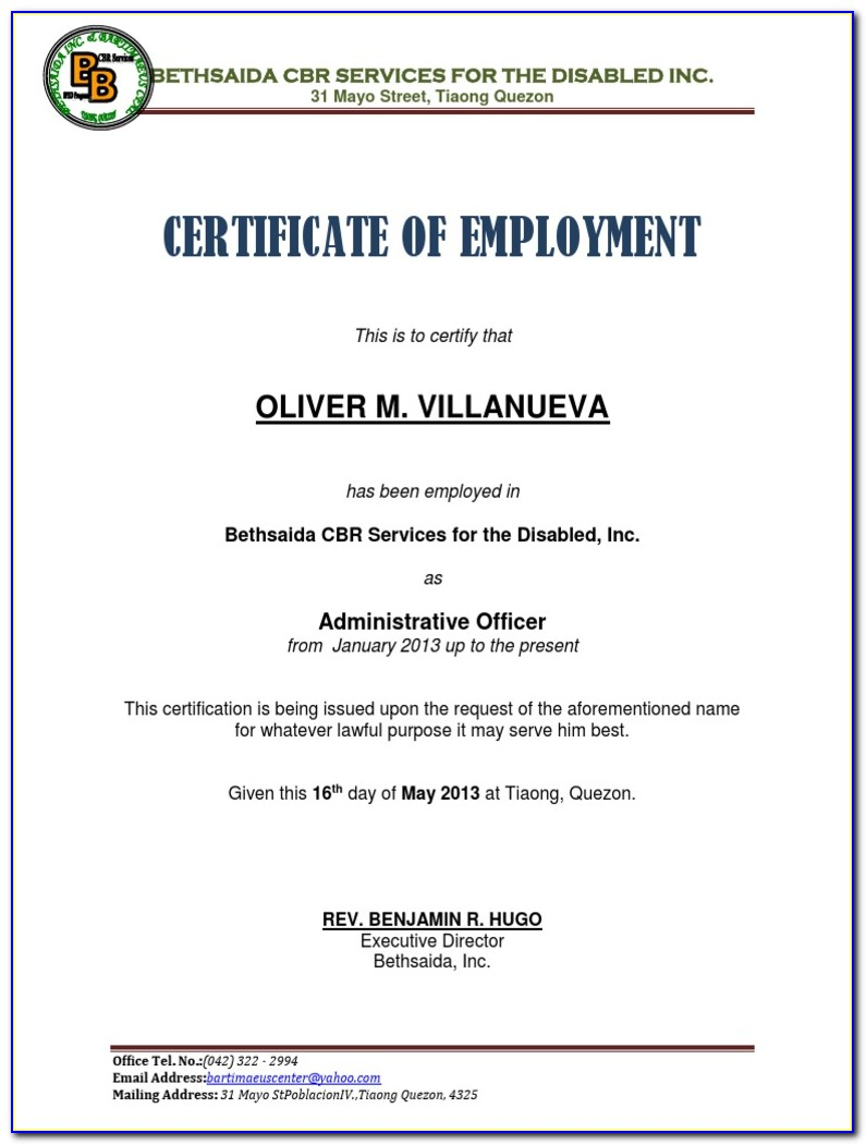 Certificate Of Employment Template With Compensation